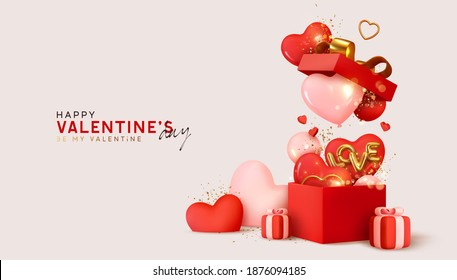Valentine's day design. Realistic red gifts boxes. Open gift box full of decorative festive object. Holiday banner, web poster, flyer, stylish brochure, greeting card, cover. Romantic background - Shutterstock ID 1876094185