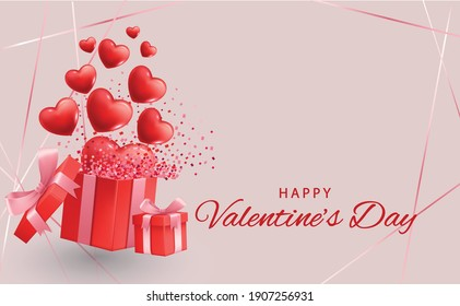 Valentine's day design. Realistic red gifts boxes. Open gift box full of decorative festive object. Holiday banner, web poster, flyer, stylish brochure, greeting card, cover. Romantic background