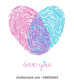 Valentines day design. Vector fingerprint sketch with heart. Hand drawn outline illustration with human finger print with pink and blue heart shape and text I love you
