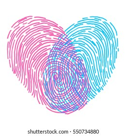 Valentines day design. Vector fingerprint sketch with heart. Hand drawn outline illustration with human finger print with pink and blue heart shape