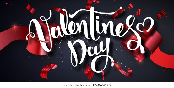 Valentines Day design vector template. Calligraphic Valentines Day Lettering Decorated.Valentines poster template. Wallpaper, flyers, invitation, posters, brochure, banners. Vector illustration EPS10