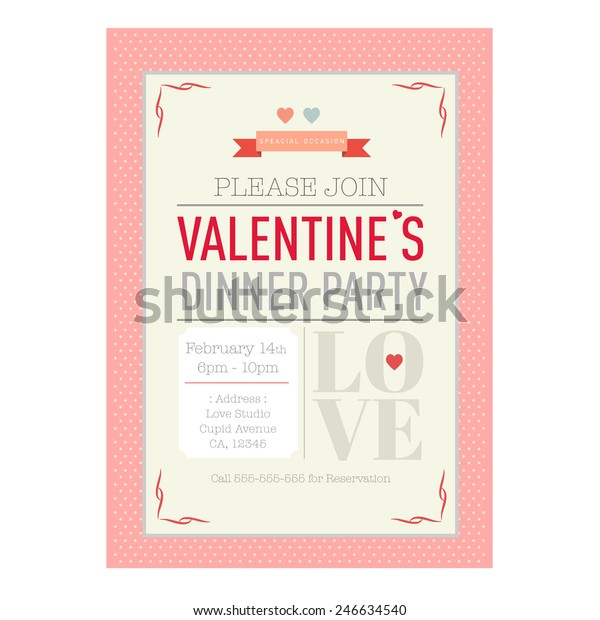 Valentines Day Dinner Invitation Card Template Stock Vector