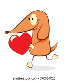 Valentine's day Dog a cute dog bringing a heart to his love