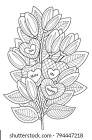 """Valentines Day doodle coloring book page  bouguet of flowers and hearts with text """"You make me happy"""""""
