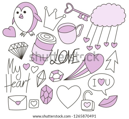 Valentines Day Doodle Cute Drawing Illustration Stock Vector