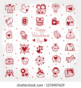 Valentines Day doodle illustration with cute cartoon love icons. Set of wedding icons.