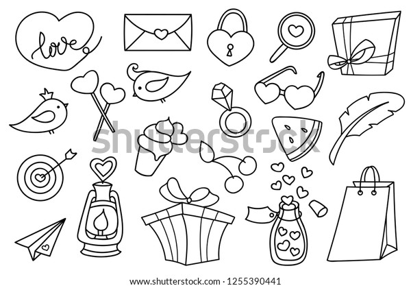 Valentines Day Doodle Set Collection Romantic Stock Vector
