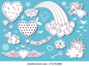 Valentine's Day Doodle Sky - Whimsical set of Valentine's Day clouds, rainbow, cherub, stars and a lot of flying hearts (two heart patterns included in vector EPS file)