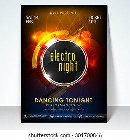 Valentines day electro night party flyer, banner or template design.