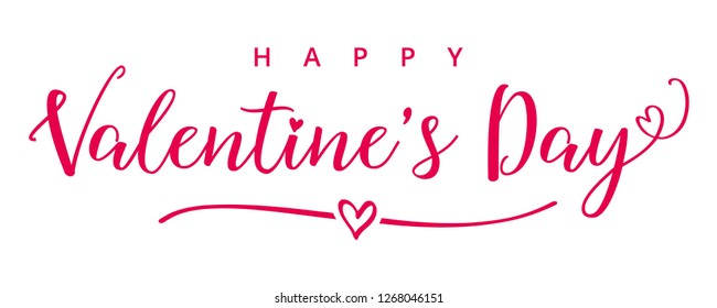 Valentines Day elegant calligraphy banner. Valentine greeting card template with typography text happy valentine`s day and white heart in line on background. Vector illustration