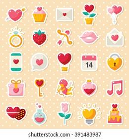 Valentine's day elements icon sets