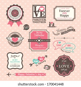 Valentine's day Elements labels and frames Vintage Style