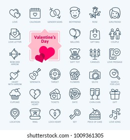Valentine's Day elements - minimal thin line web icon set. Outline icons collection. Simple vector illustration.