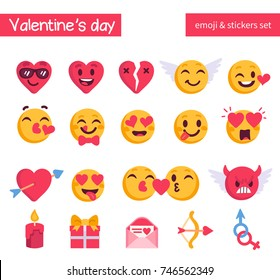 Valentine's day emoji set. Holiday emoticon collection. Flat style vector illustration.