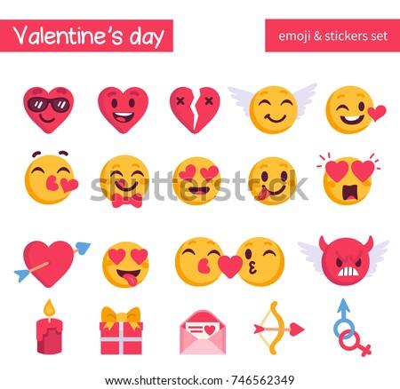 Valentines Day Emoji Set Holiday Emoticon Stock Vector Royalty Free