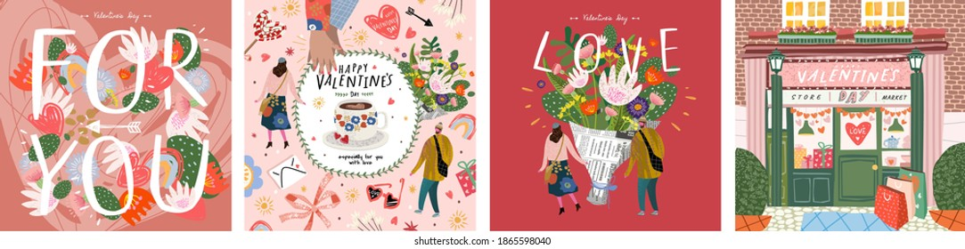 "Valentine's Day! February 14. Vector cute illustrations of a man and a woman in love, a bouquet of flowers, a shop, a background with objects and ""for you"". Drawings for postcard and poster"