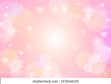 Valentine's day festival, love background and sweet hearts glittering, vector design