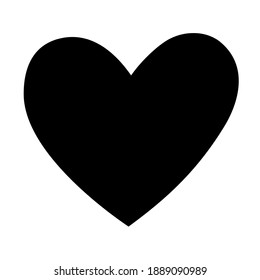 Valentine's day festive decoration. Love symbol, hand-drawn heart shape with torn edges. Vector illustration in black for wedding, party, holiday, decor, web, print