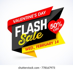 Valentine's Day Flash Sale bright banner design template, vector illustration.