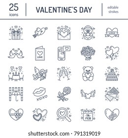 Valentines day flat line icons. Love, romance symbols - hearts, engagement ring, wedding cake, Cupid, romantic date, valentine card, doves kiss. Thin linear signs for february 14 celebration.