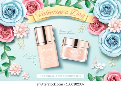 Valentine's day foundation ads with paper flowers garden background in 3d illustration