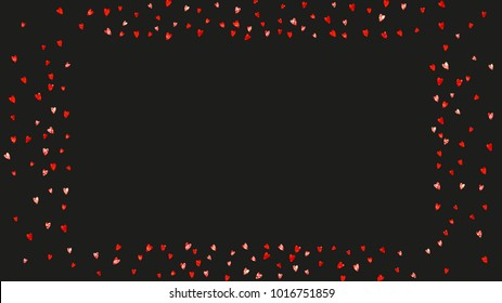 Valentines day frame with red glitter sparkles. February 14th day. Vector confetti for valentines day frame template. Grunge hand drawn texture. Love theme for special business offer, banner, flyer.