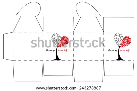 Valentines Day Gift Box Template Cube Stock Vector Royalty Free