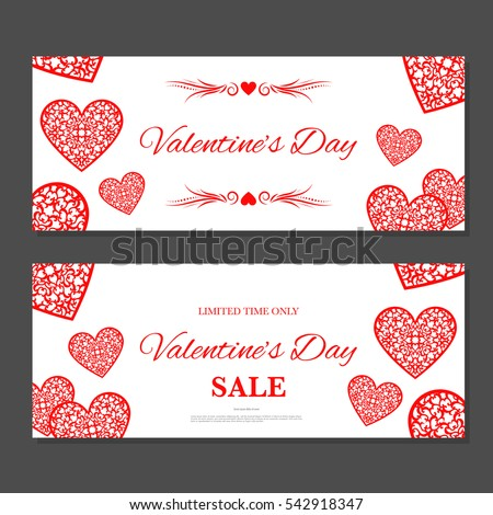 Valentines Day Gift Coupon Gift Voucher Stock Vektorgrafik