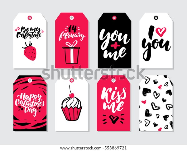 Valentines Day Gift Tag Vector Set Stock Vector (Royalty