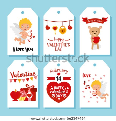 Valentines Day Gift Tags Cards Cute Stock Vector Royalty Free