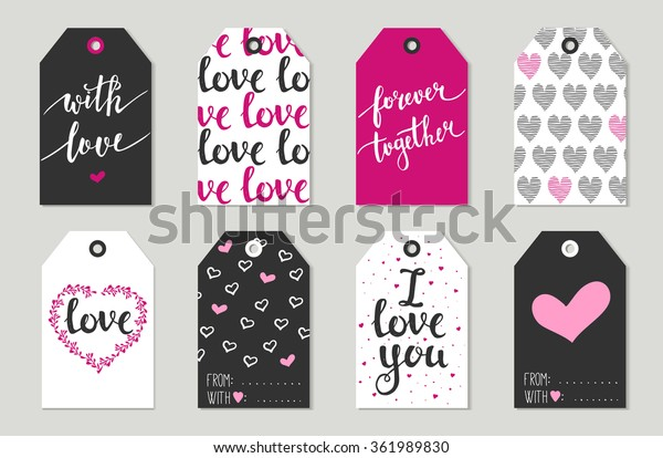 Valentine's day Gift tags set, stickers and labels. Vector illustration. Template for Greeting Scrap booking, Congratulations, Invitations, Planner, Diary, Notes.