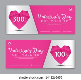Valentine's Day Gift Voucher template, Coupon, discount, Sale banner, Horizontal  layout, discount cards, headers, website, Pink background, vector illustration EPS10