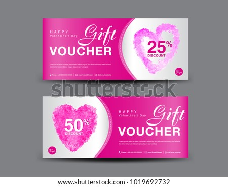 valentines day gift voucher template layout stock vector royalty