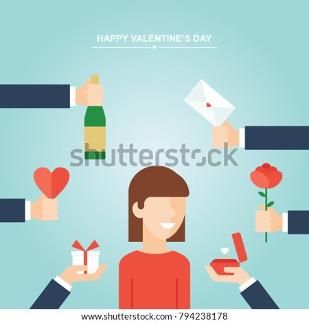 Valentines Day Gifts Girl Hands Holding Stock Vector Royalty Free