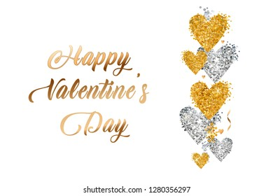 Valentines Day gold text in frame on advertising poster announcement with golden heart balloons on white background. Vector illustration