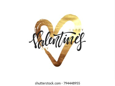 Valentines Day. Golden heart, smear paint stroke brush with bright sparkles. Greeting card, poster, banner, design element. vector illustration