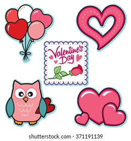 Valentines day graphics owl balloons words hearts rose