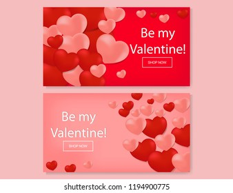 valentine's day greeting card. background red-pink and pink heart icon. template elegant. vector ilustration. suitable for Gift card Banner Posters. Marketing, Advertising, Selling. Sale flyer layout