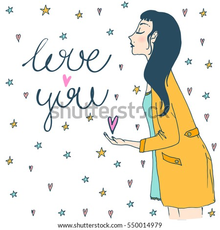 Valentines Day Greeting Card Beautiful Girl Stock Vector Royalty