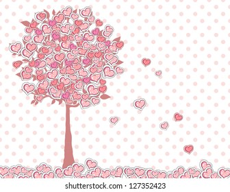 Valentine's day greeting card - Blooming tree with hearts