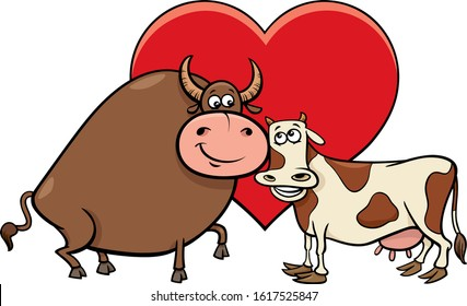 Valentines Day Greeting Card Cartoon Illustration with Cow and Bull Characters in Love