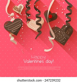 Valentine's Day greeting card with chocolate hearts and confetti - flat design style