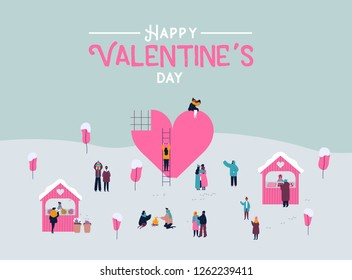 Valentine's Day greeting card. Crowd of people in love with valentines gifts, diverse couples and romantic activities on winter landscape. Flat cartoon style illustration.