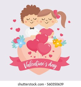 Valentine's Day greeting card. Cute illustration with sweet couple, big heart with lettering and flowers bouquet. Romantic relationship lover.