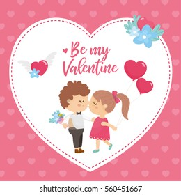 Valentine's Day greeting card. Cute illustration with sweet couple, big heart with lettering and flowers bouquet.