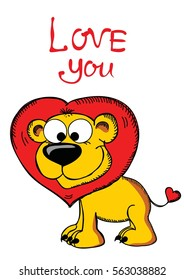 Valentine's Day Greeting Card with cute lion and hand drawn Love lettering.