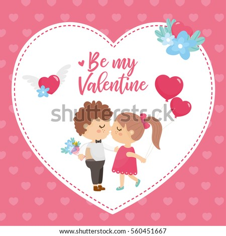 Valentines day greeting card cute illustration stock vector royalty valentines day greeting card cute illustration with sweet couple big heart with lettering and m4hsunfo