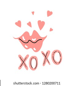 Valentines day greeting card design. Text XO XO and pink lips with hearts.  Vector illustration for card, poster, invitation, party design. Hand drawn lettering XO XO