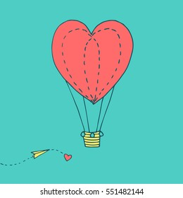 Valentines day greeting card with flying in the sky heart shaped balloon and paper plane. Vector hand drawn illustration in minimalistic style, made with ink outlines