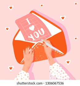 Valentine's day greeting card. Girl writes a love letter. Illustration with woman hands, envelope and letter. Vector illustration.
